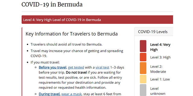 Changes Bermuda To 'Very High Level'